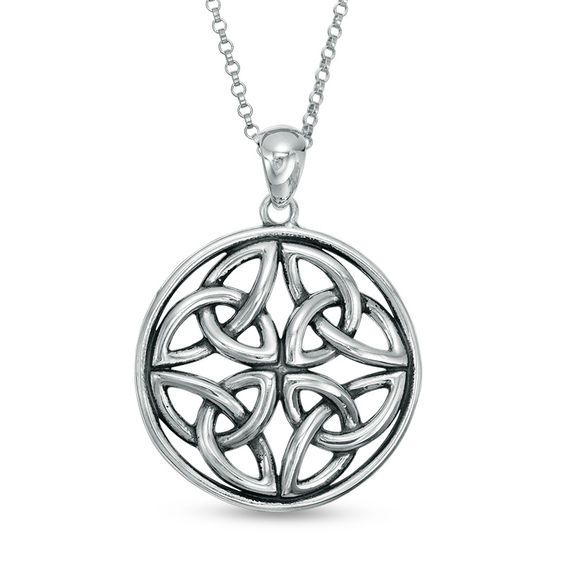 Oxidized Celtic Knot Circle Pendant In Sterling Silver