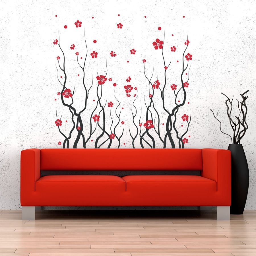 Red Blossom Flowers Wall Decal