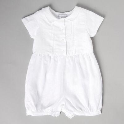 8c2a7591177 bluezoo Baby s white linen christening romper suit-