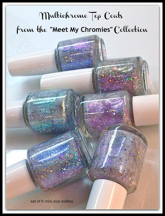 6 Mini Size Multi Chrome Topper Set Color Changing Polish