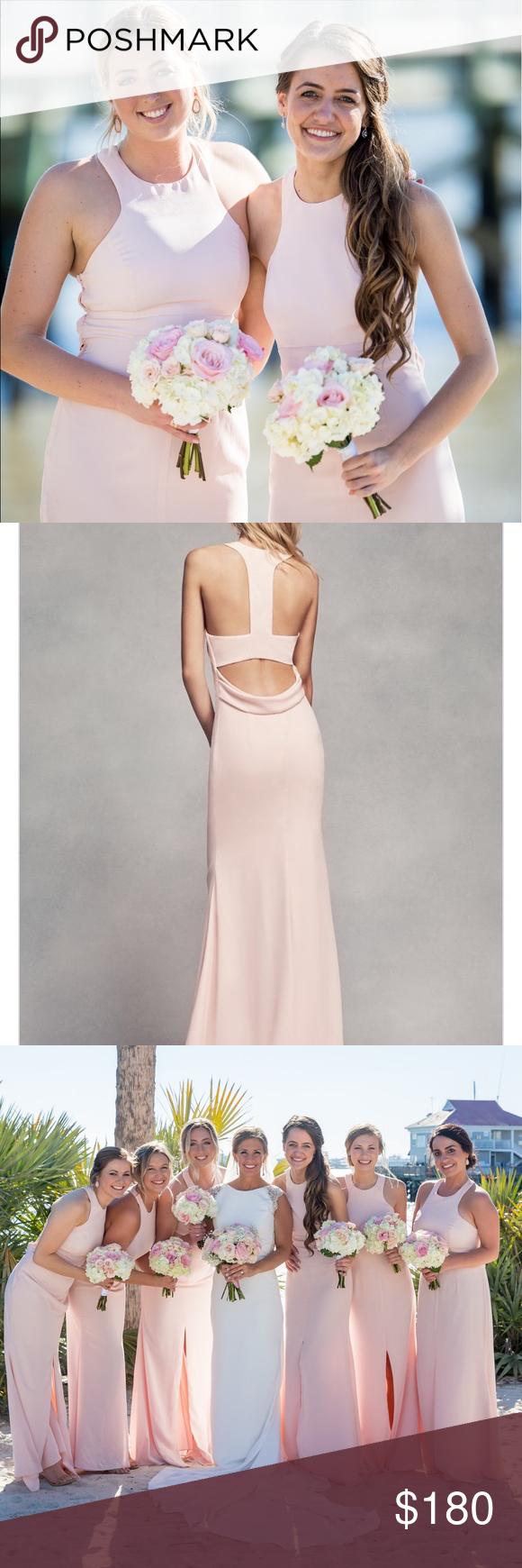 Long halter bridesmaid dress with skirt slit blush vera wang long halter bridesmaid dress with skirt slit blush ombrellifo Image collections