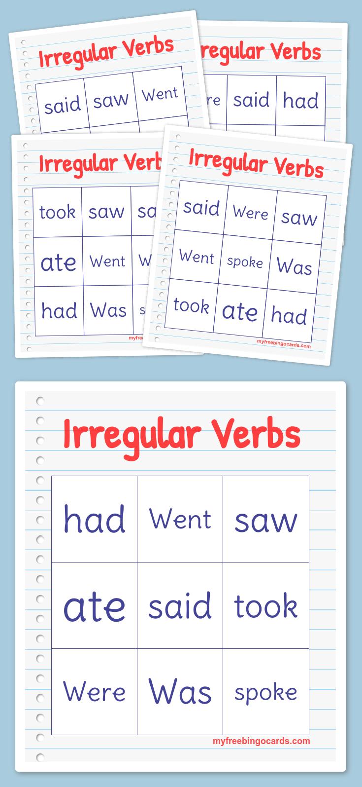 Irregular Verbs Bingo Ingilizce [ 1595 x 735 Pixel ]