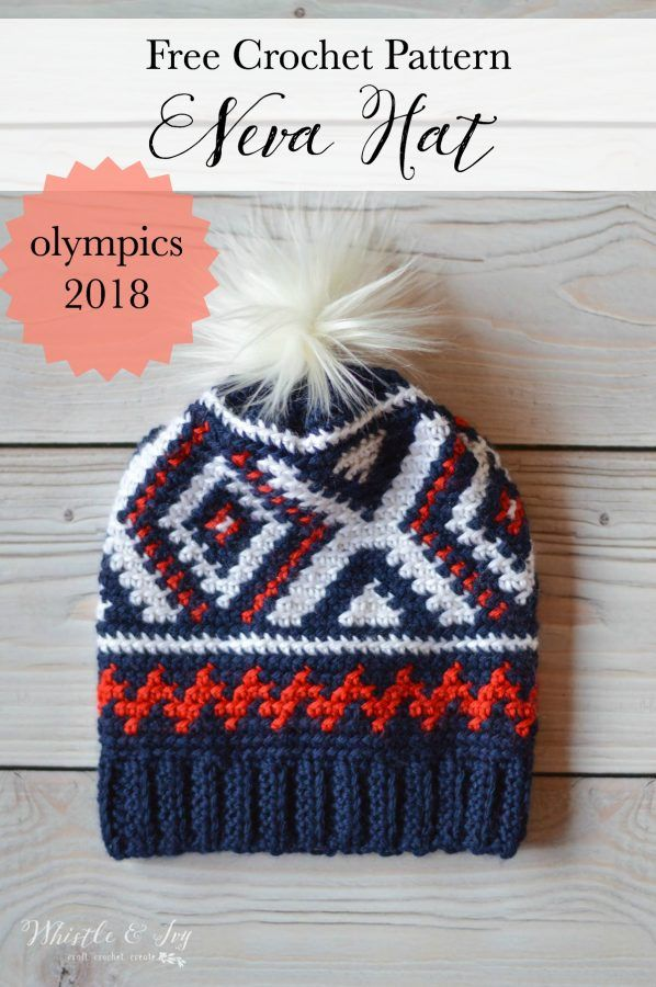 4fd4b938467 Crochet Neva Hat (Crochet Olympics Team Hat)   This pretty hat is my  version of the the Team USA Olympic Hats! The color work is easier than you  think and ...
