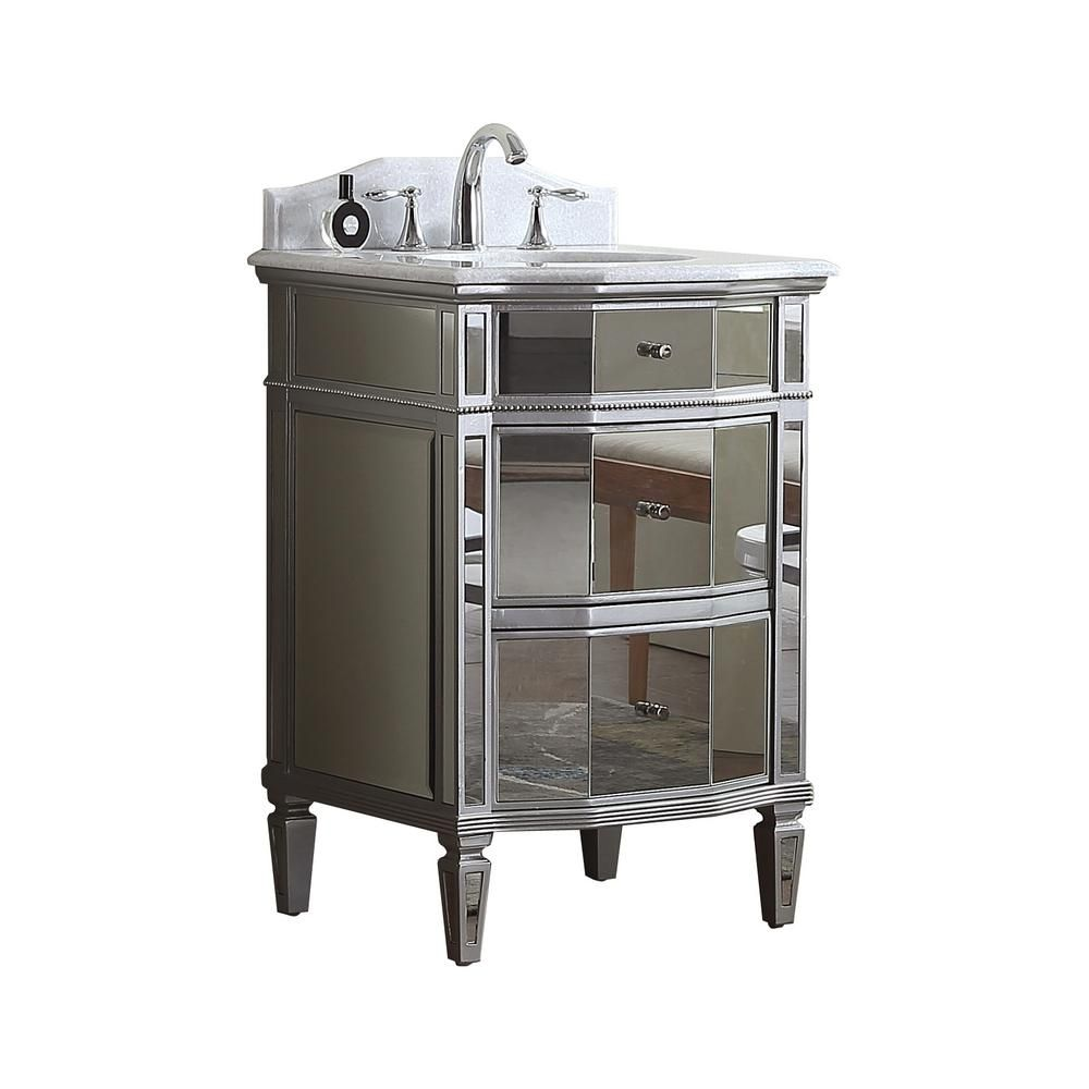 Modetti Palazzo 24 in. W x 21 in. D Mirrored Vanity with ...
