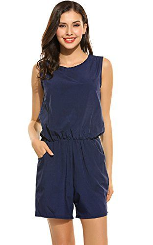 POGTMM Summer Loose Casual Rompers and Jumpsuits for Women with Pockets
