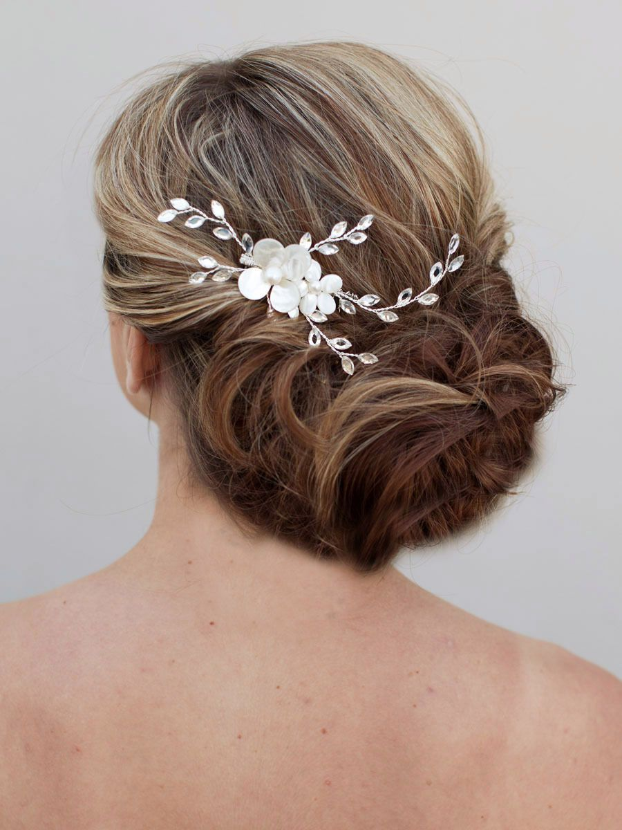 hair comes the bride - mother of pearl wedding hair comb ~ lovely