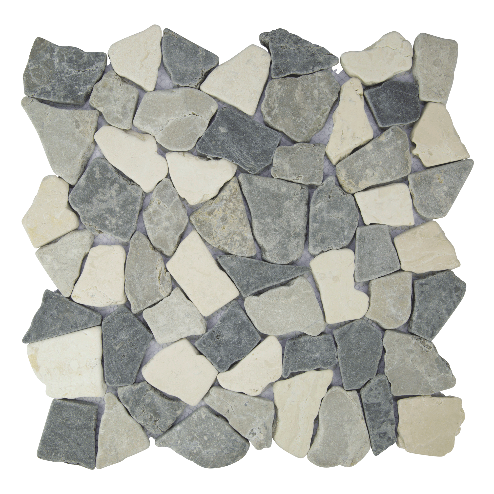 Easy To Install Mesh Backed Interlocking Natural Stone Tile Made Out Of High Quality Indonesian Marble In White Pebble Mosaic Tile Pebble Tile Mosaic Tiles