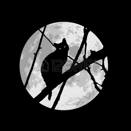 Black Cat Under The Moon Royalty Free Cliparts, Vectors, And Stock ...