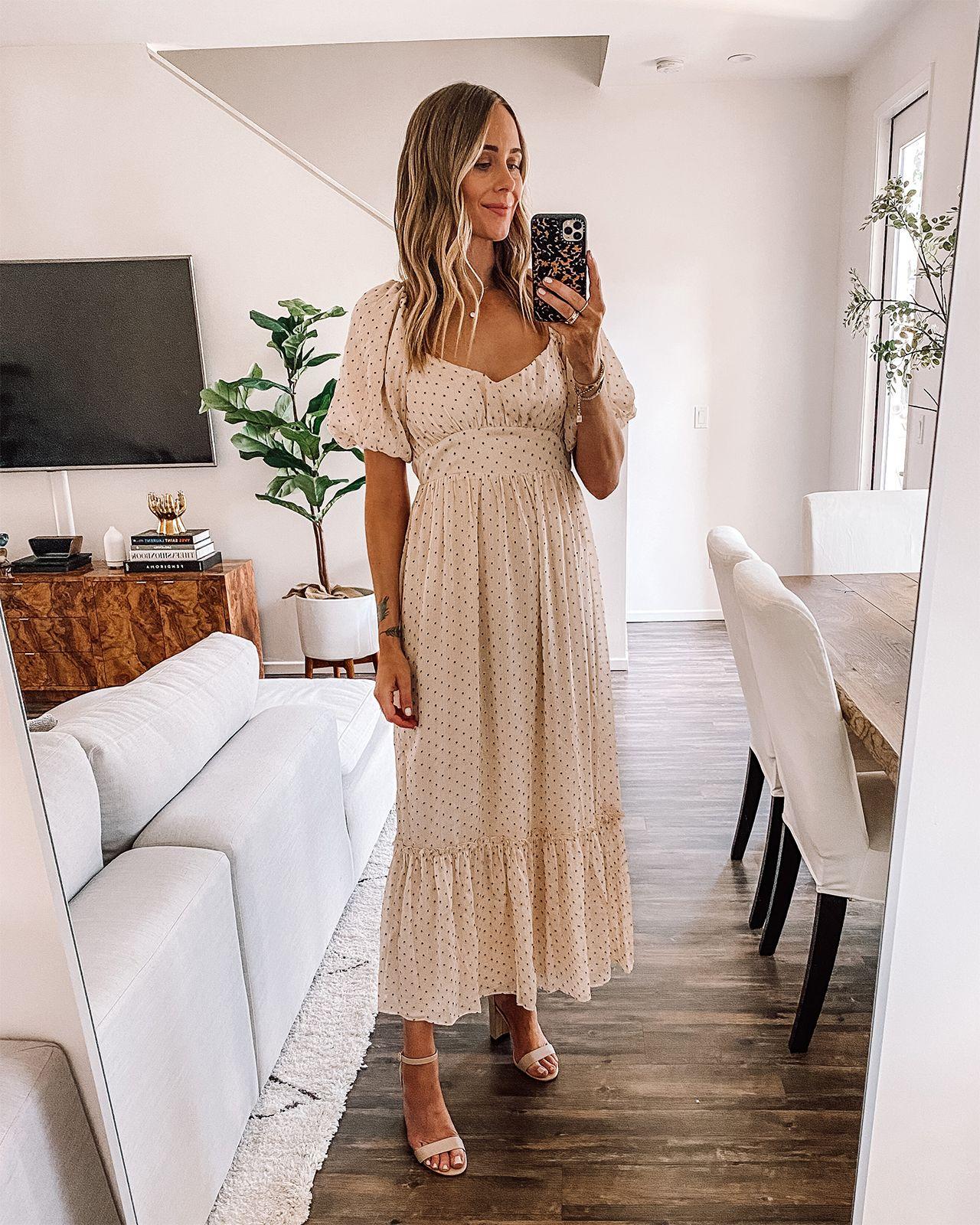 Fashion Jackson Wearing Beige Polka Dot Ruffle Maxi Dress Affordable Summer Dresses Neutral Summer Dresses Best Summer Dresses [ 1600 x 1280 Pixel ]