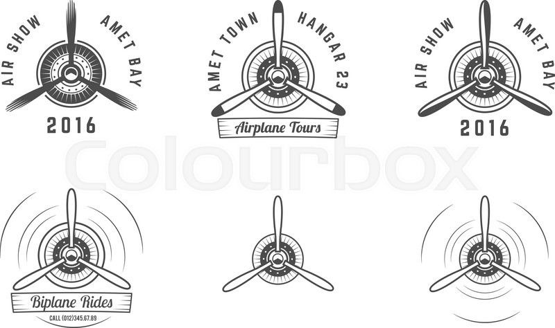 Set Of Vintage Airplane Propeller Emblems Biplane Labels Retro
