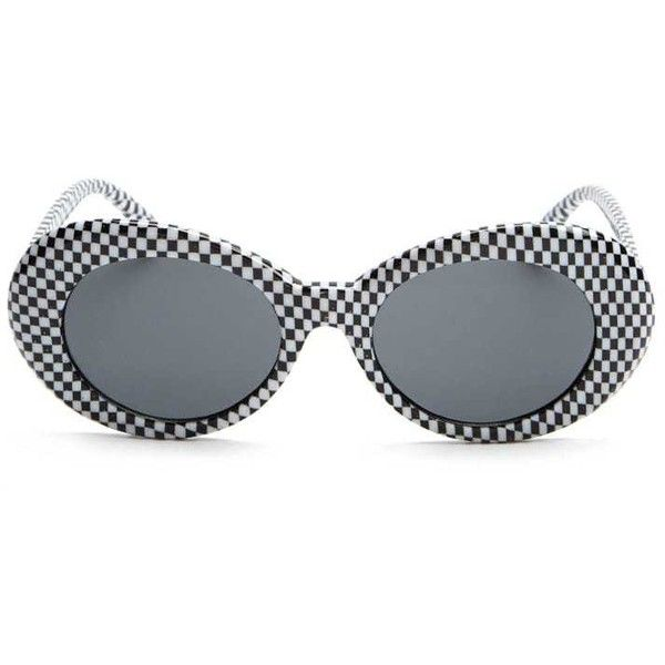 21c082780a Forever21 Checkered Oval Sunglasses ( 7.90) ❤ liked on Polyvore featuring  accessories