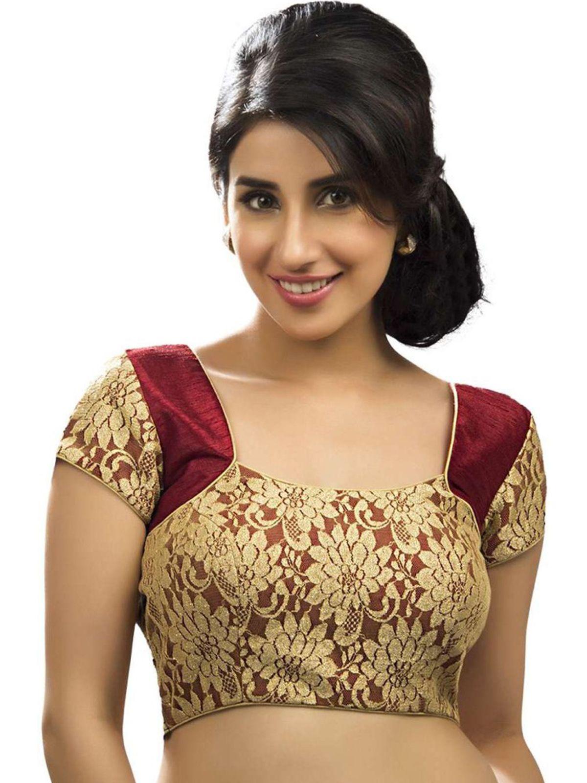 ab57615283874f Shop Online for Khantil Maroon Designer Net Blouse Material Buy Online in  India at Voonik.com