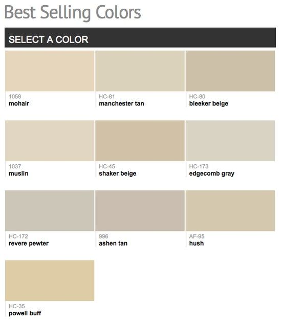 best selling & popular paint colors from benjamin moore