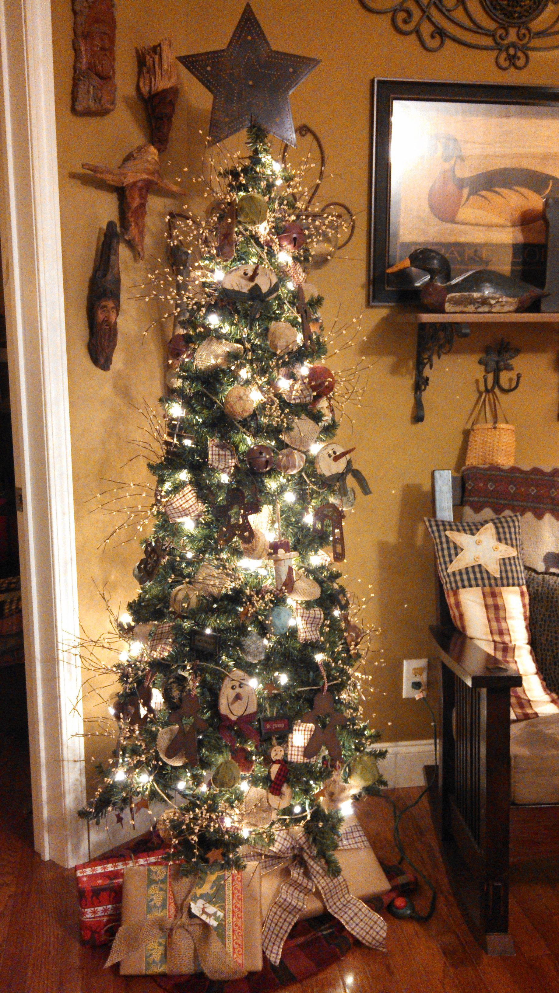Tall Skinny Christmas Tree Decorating Ideas.My Primitive Christmas Tree Christmas Trees Primitive