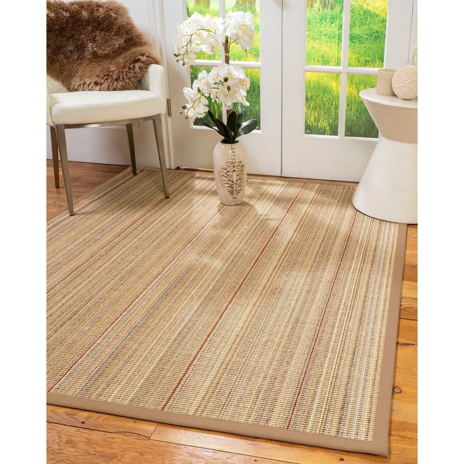 Natural Area Rugs 100 Natural Fiber Handmade Resort Brown Multi Sisal Rug Wheat Border 2 6 X 12 Area Rugs Sisal Rug