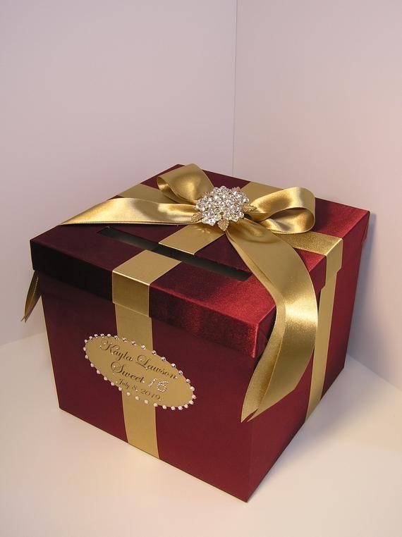wedding quinceañerasweet 16 card box burgundy and