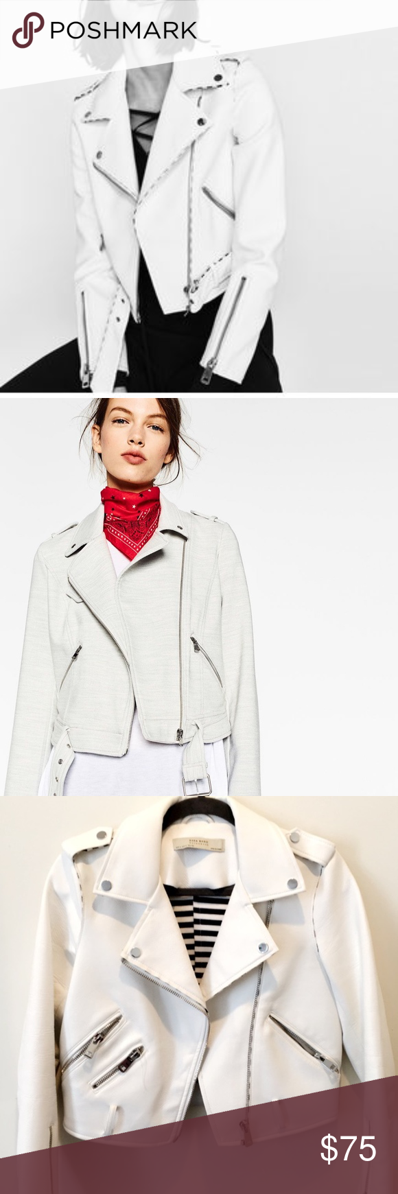 ZARA BASIC OUTERWEAR White Faux Leather Jacket in perfect