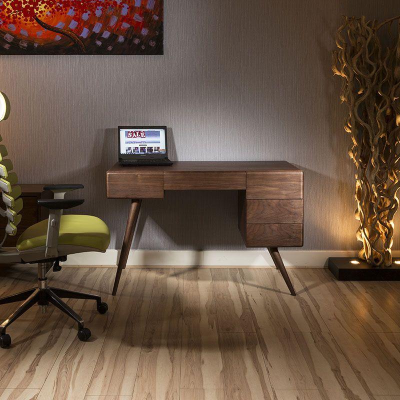 Modern Designer Desk Work Station Dresser Tobacco Walnut 120cm Cp1417 In 2020 Furniture Design Design Desk