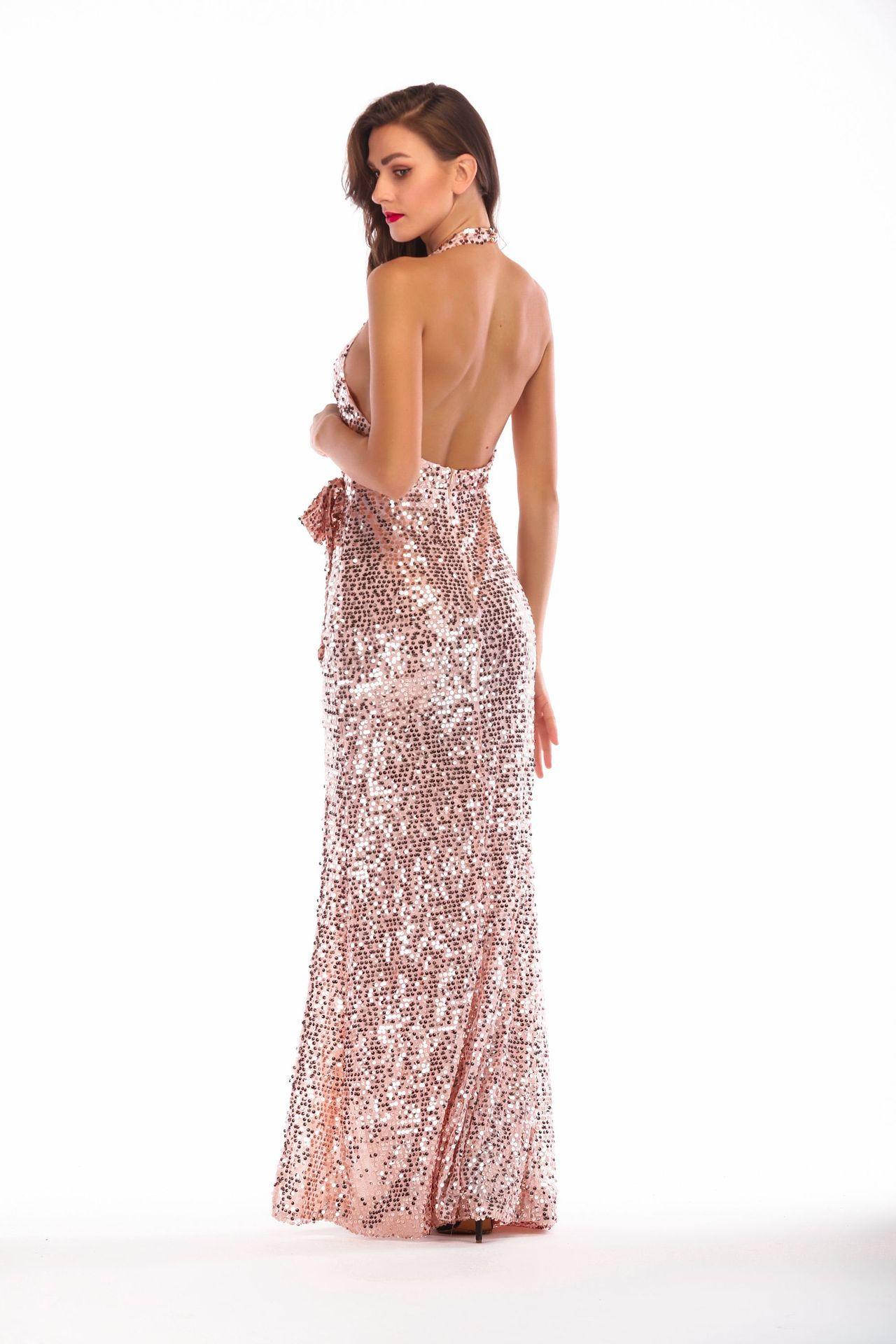 sexy sequin backless suspender dress party kleider fashion sukienka glitter  vestidos robe femme long dress women 4968e132aefd
