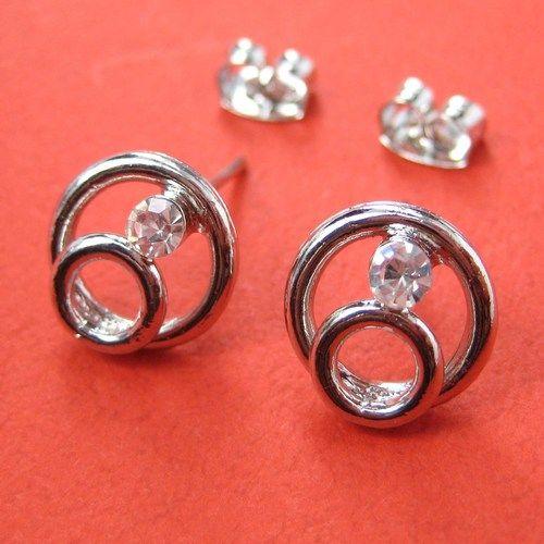 1 One Dollar Round Circle Rhinestone Stud Earrings