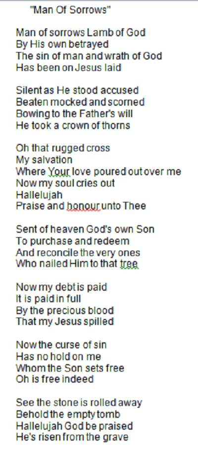 Need To Look This One Up Love The Lyrics Man Of Sorrows