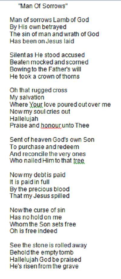 Love The Lyrics Man Of Sorrows