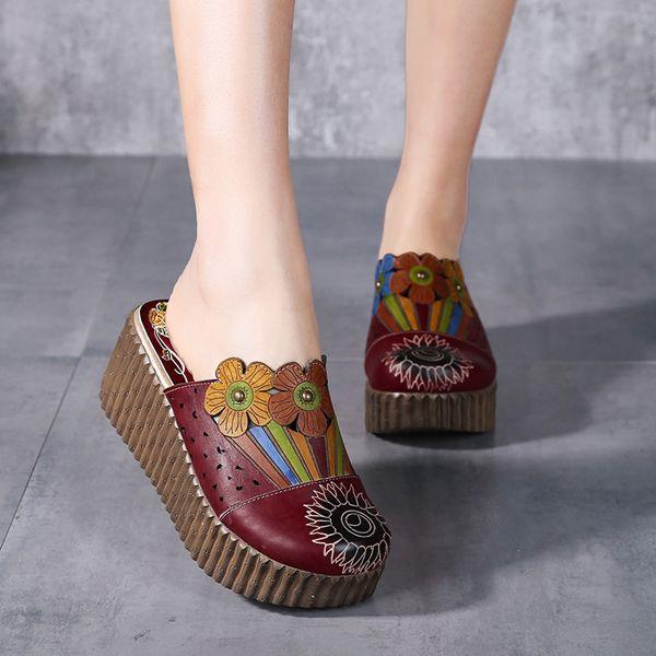 Socofy Original Handmade Flower Slip On Retro Sandals