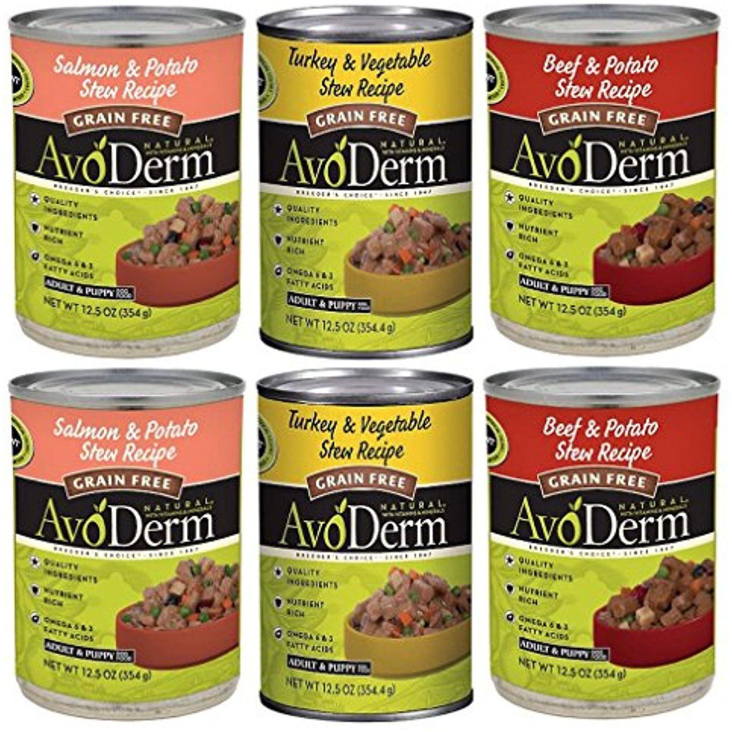 Avoderm Natural Grain Free Canned Dog Food Stew Recipe 3 Flavor