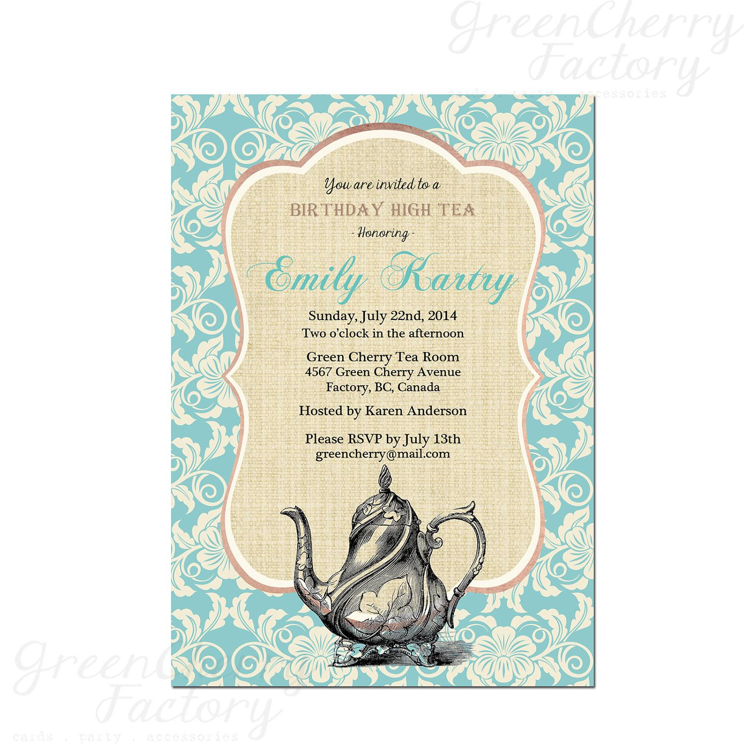 Teal Floral Tea Party Invitation - Bridal Tea Party - Birthday High ...