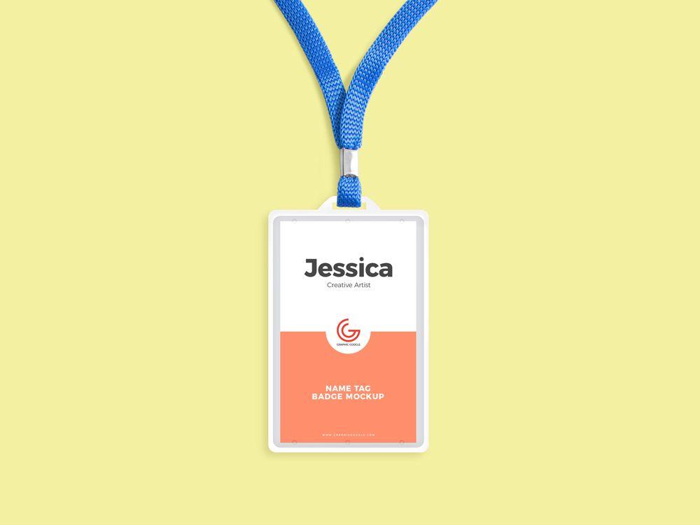 Free Name Tag Badge Mockup Name Tag Design Name Tags Event Badge Design