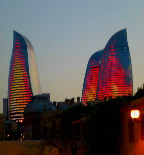 Baku Azerbaijan New Skyline Flames Tower New Skyline Baku Azerbaijan Azerbaijan