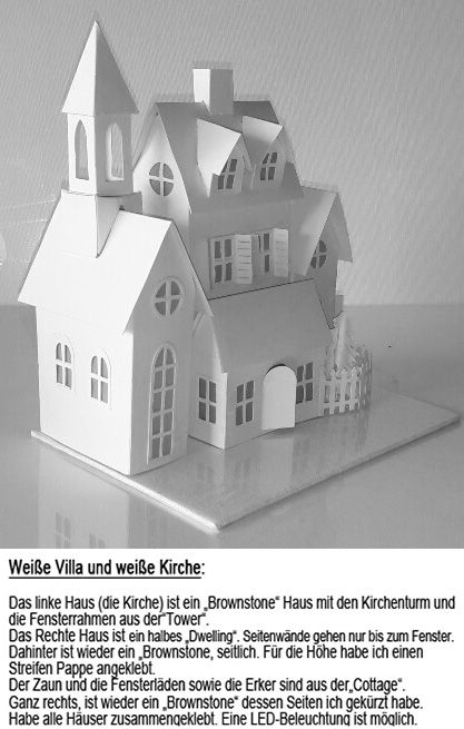 wei e villa und wei e kirche 2 fensterdeko pinterest weihnachten bauplan haus und papier. Black Bedroom Furniture Sets. Home Design Ideas