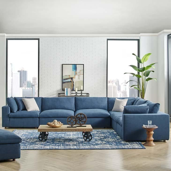 Commix Down Filled Plush Overstuffed 6 Piece Sectional Sofa Set In 2020 Sectional Sofas Living Room Modern Sofa Sectional Sectional Sofa Comfy