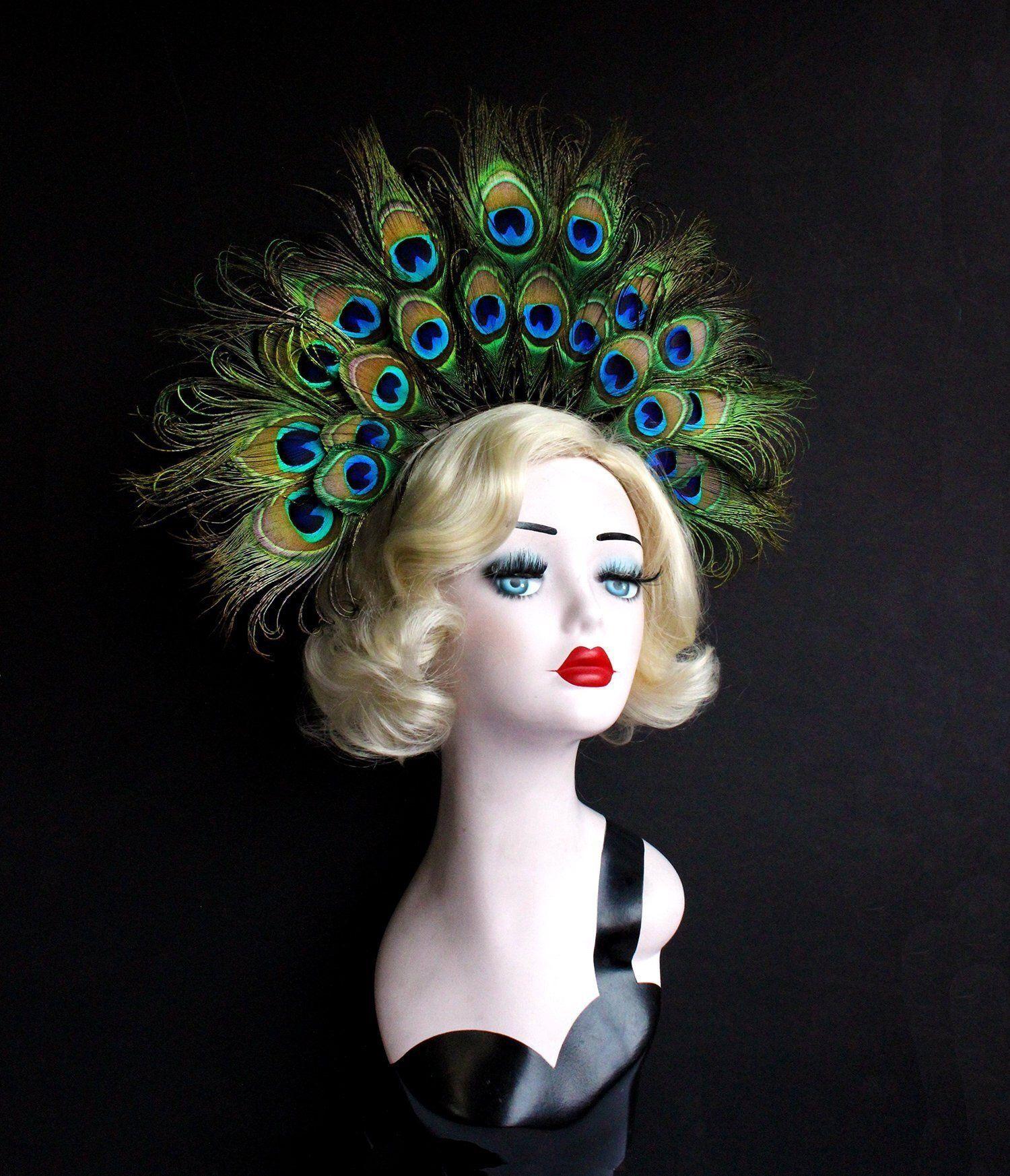 Peacock Feather Crown Headband, Showgirl Headdress, Burlesque Costume, Festival Wear, Art Deco, 1930's, Disco, Burning Man, Drag #crownheadband