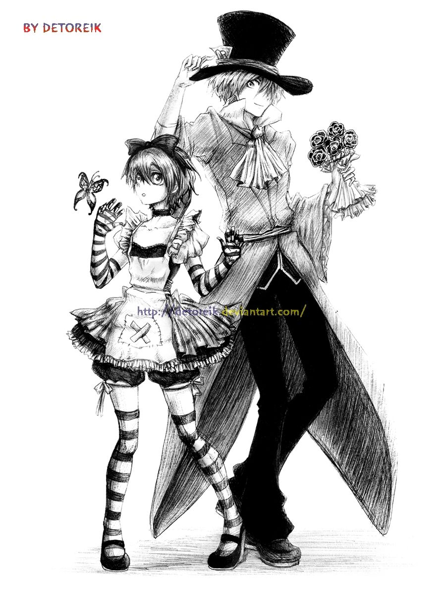 Anime Mad Hatter Girl Drawing
