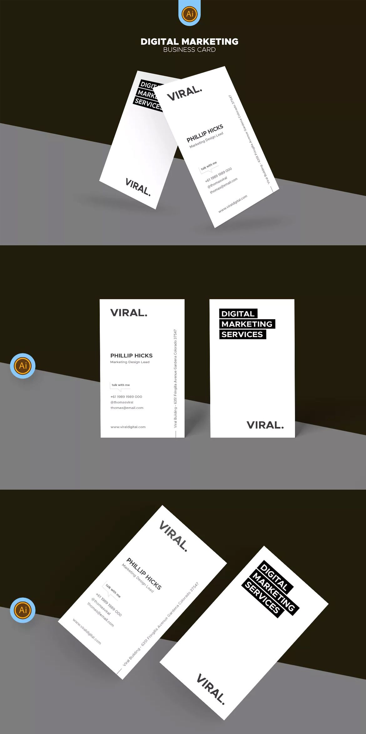 Digital Marketing Business Card Template AI #unlimiteddownloads ...