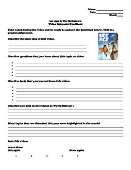 ice age the meltdown video response questions ice age worksheets and activities. Black Bedroom Furniture Sets. Home Design Ideas
