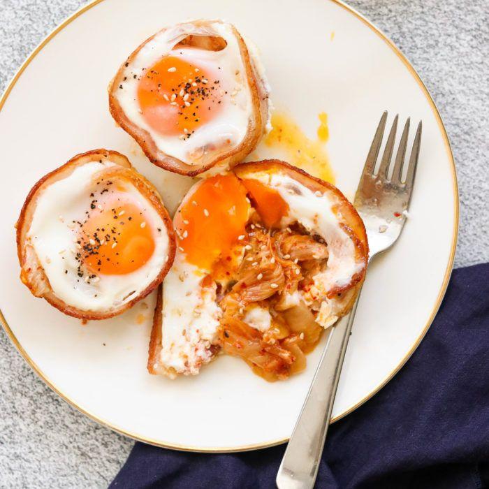 Kimchi & Bacon Keto Breakfast Egg Muffins (Paleo, Whole30) #eggmuffins