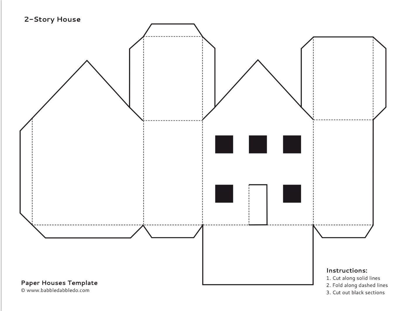 Paper House Template 2 Paper House Template House Template Paper Doll House