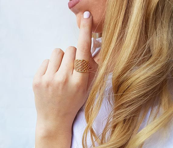 Dainty design ring Fine gold ring Lace ring Adjustable ring