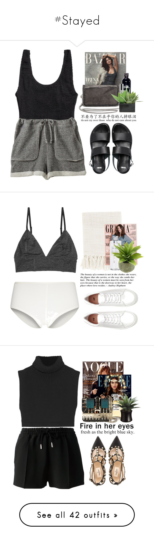 """#Stayed"" by lolgenie ❤ liked on Polyvore featuring H&M, Zoe Tee's, Colbert MD, STELLA McCARTNEY, Lux-Art Silks, ASOS, Monki, Surya, Muji and Victoria Beckham"