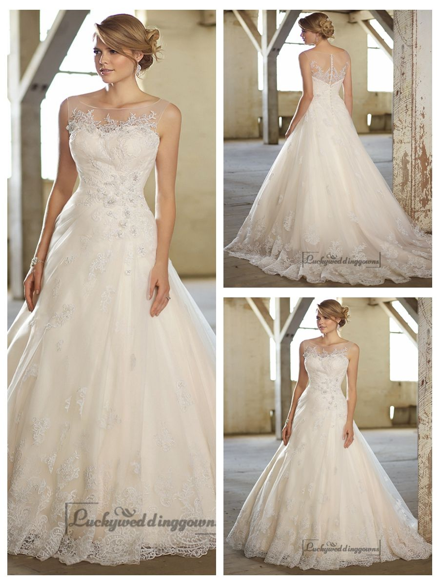 Stunning aline illusion neckline u back lace wedding dresses