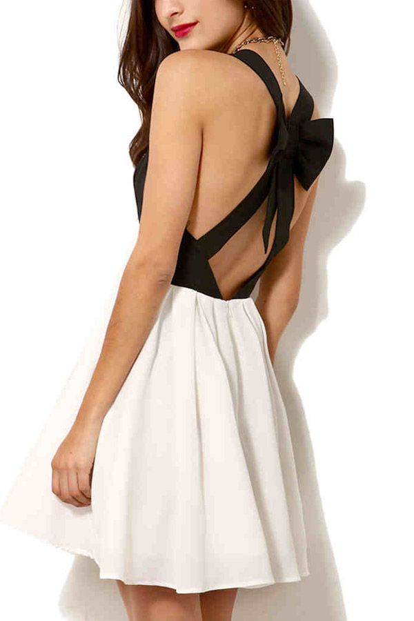 1d1843b153  25.99 Black White Two Tone Cutout Bow Back Skater Dress   MayKool.com If I  get rid of this backne I ll actually get this.