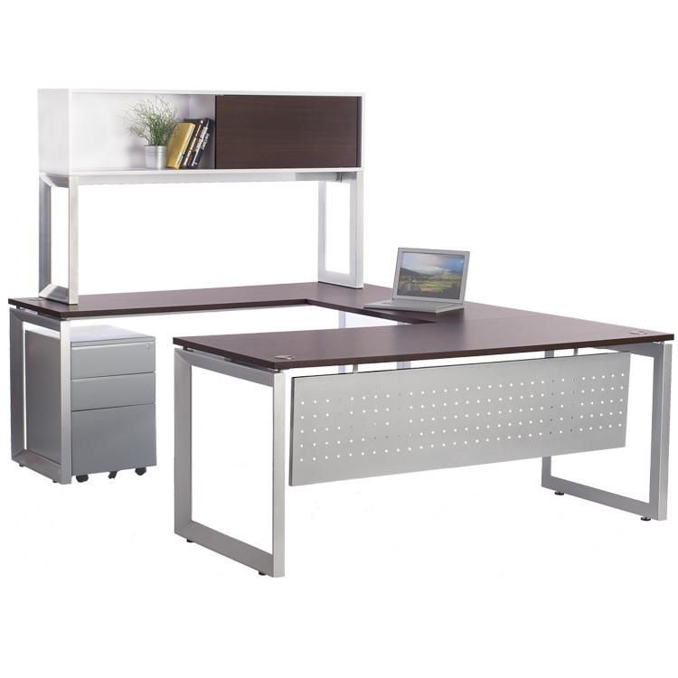 Large desk with plenty of surface space. Modern, flat silver legs and rich brown teaktop. Includesmobile file pedestal with drawers for storage and file drawe