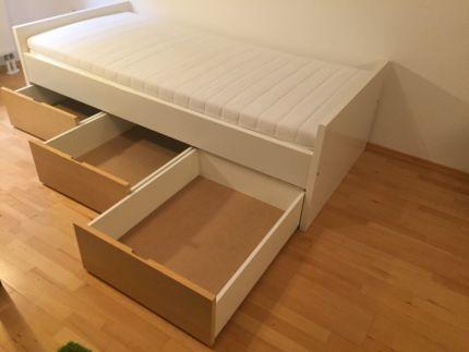 Bett Einzelbett, 2m X 1m. Mit 3 Schubladen. IKEA Brekke