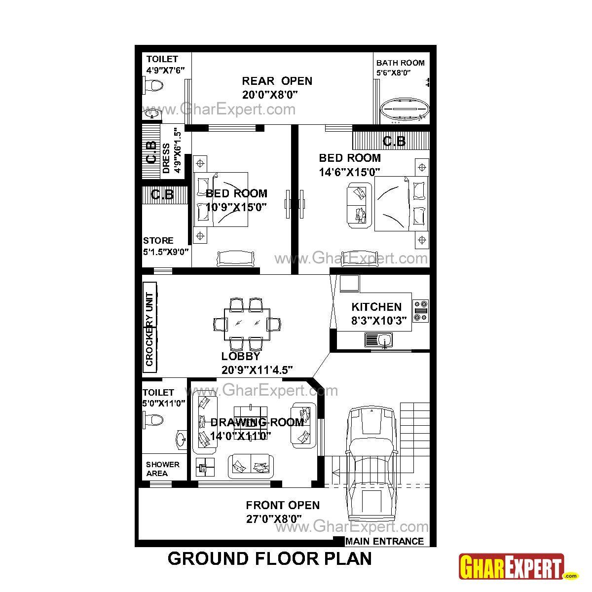 House Plan For 33 Feet By 55 Feet Plot (Plot Size 202