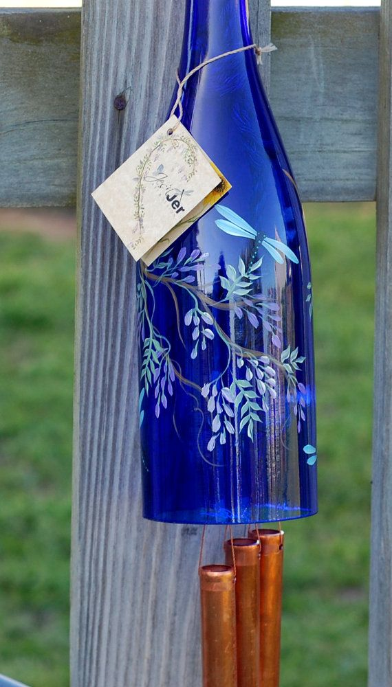 Recycled Wine Bottle Wind Chime Purple Wisteria With Dragonflies