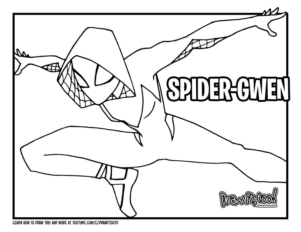 How To Draw Spider Gwen Spider Man Into The Spider Verse Drawing Tutorial Draw It Too In 2020 Spider Gwen Spiderman Coloring Gwen Spiderman