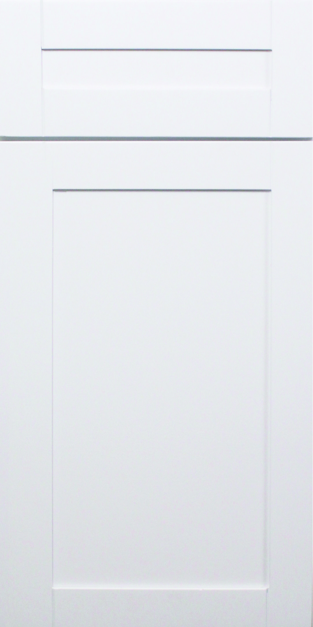 White shaker cabinets for kitchen powder room and lower bathroom