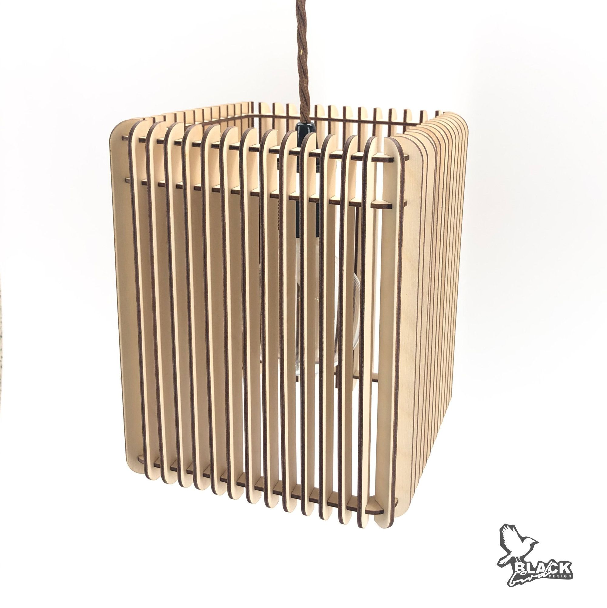 Modern birch plywood lamp, square wooden pendant light